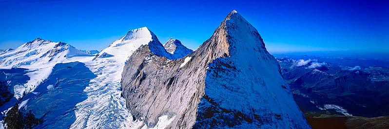 Aerial view of the Eiger, Monch and Jungfrau ridge-crest, Bernese Alps, Switzerland