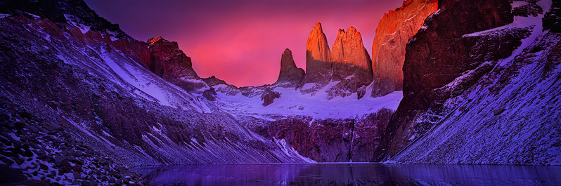 Alpenglow on the Torres del Paine, Chilean Patagonia
