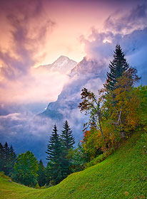 Dawn behind the Eiger, Bernese Alps, Switzerland