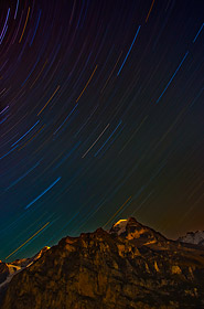 Star trails over Bernese Alps, Switzerland