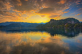 Sunset over Lake Bled, Slovenia