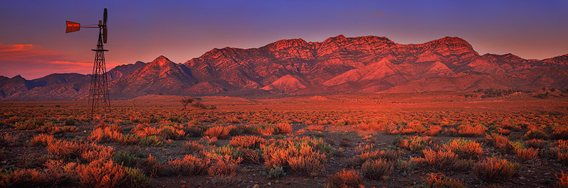 Wilpena Pound glowing red, Flinders Ranges, South Australia